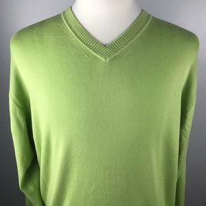 Men's Talbots Green V-Neck Pima Cotton Sweater